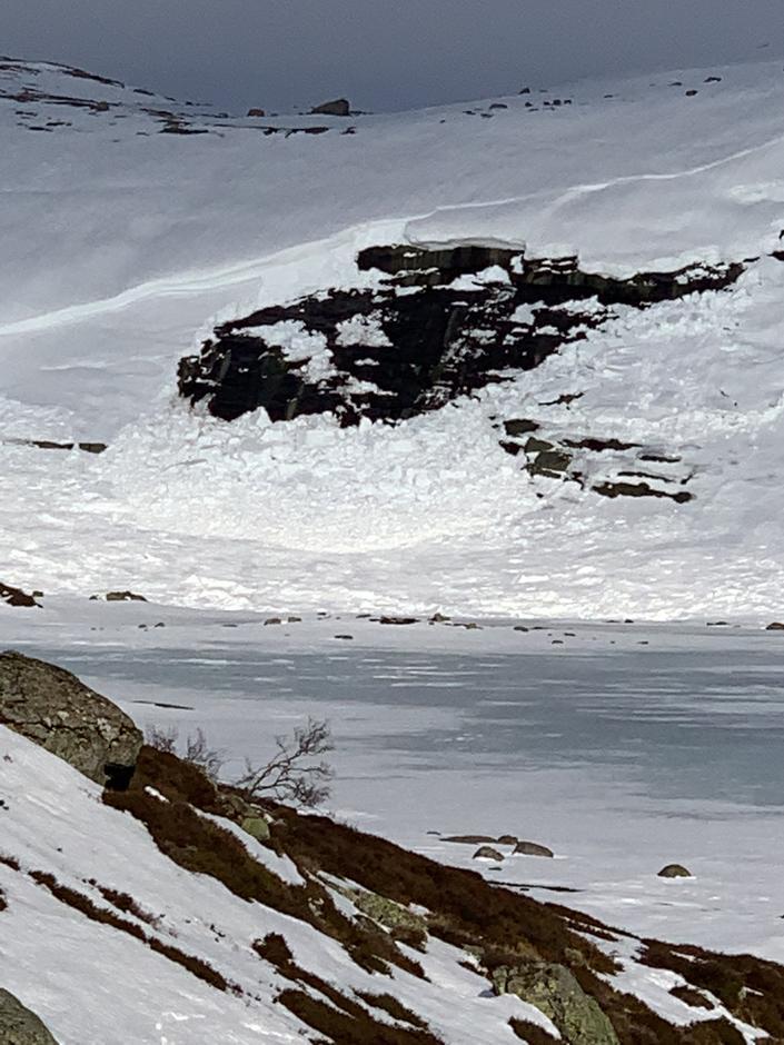 Knaben, ved Bergetjødn 820 mo.h. Vått flakskred i sørvestvendt helling. 27.2.