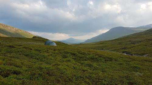 Teltplass i Tespdalen like nedenfor Tesphytta