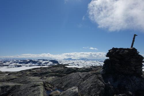Utsikt fra Øykjafonn (1605 moh) mot Hardangerjøkulen