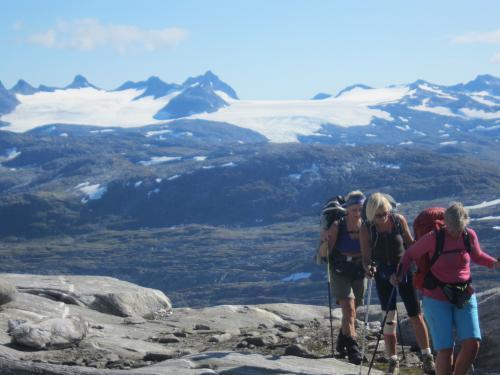 Stølsdalen-Nørdstedalseter mot Liabreen med Smørstabbretindene i bakgrunnen