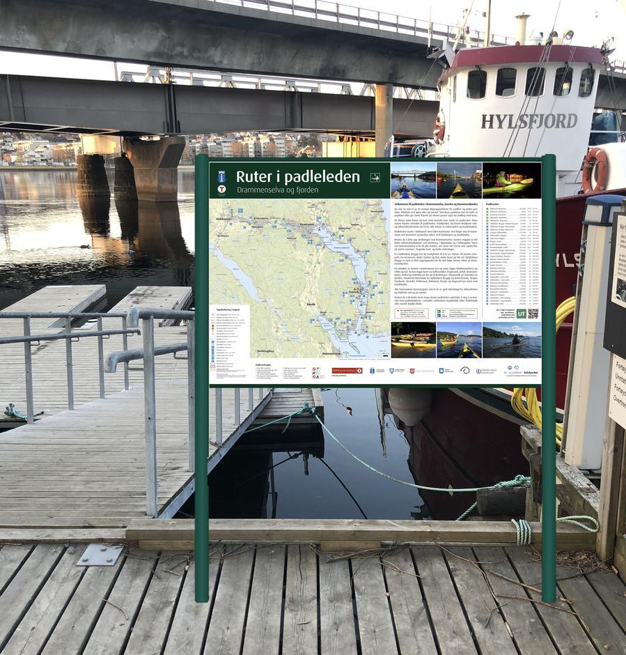 Ilustrasjonsfoto plassering av  informasjonstavle ved Gyldenløve Brygge i Drammen
