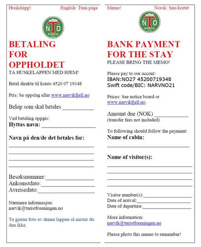 Nytt betaligssystem / New system for payment.