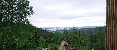 Utsøkt utsikt mot sørvest fra utenfor Fuglemyrhytta, Nordmarka i Oslo.