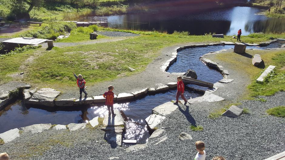 Borna kosa seg ved Sagedammen i Indre Nordfjord