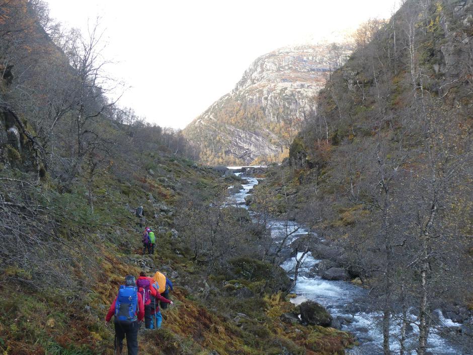 På veg frå Kringlevatnet til Orfallet/Storavatnet. Me nærmar oss T-merka sti til Kalvedalen.
