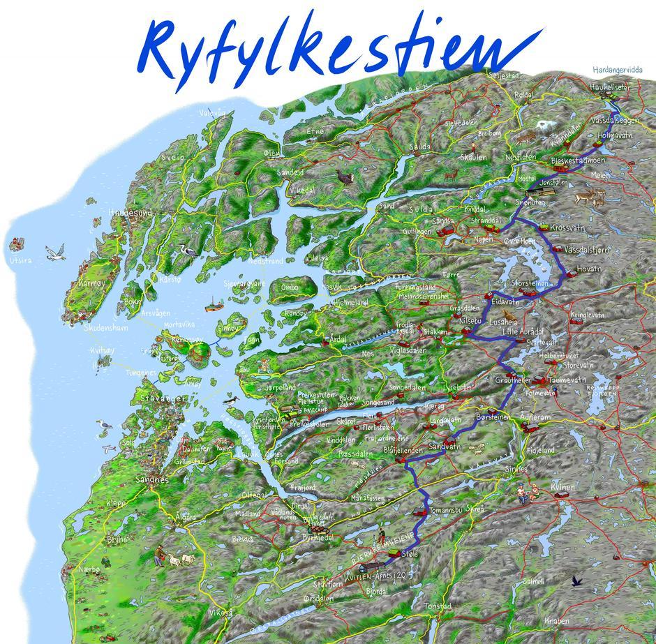 RYFYLKESTIEN: Den 250 kilometer lange T-merkede stien fra Haukeliseter til Kvitlen er tegnet inn som blå strek på kartet.