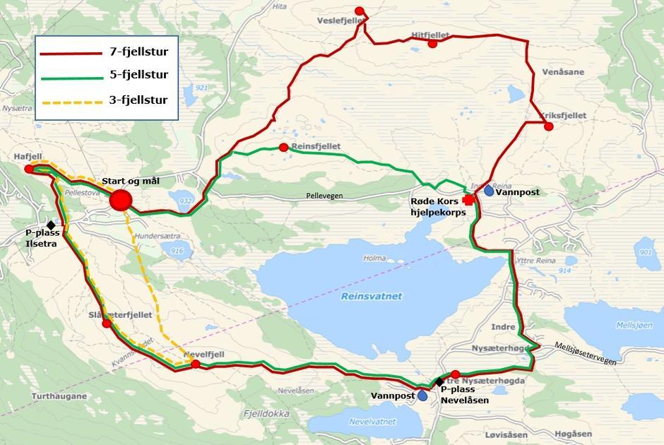 kart over hafjell Turbeskrivelse 7 fjellsturen Lillehammer 2018 — DNT Lillehammer kart over hafjell