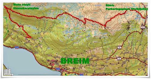 Kart over støyl til støyltur på Utvikfjellet
