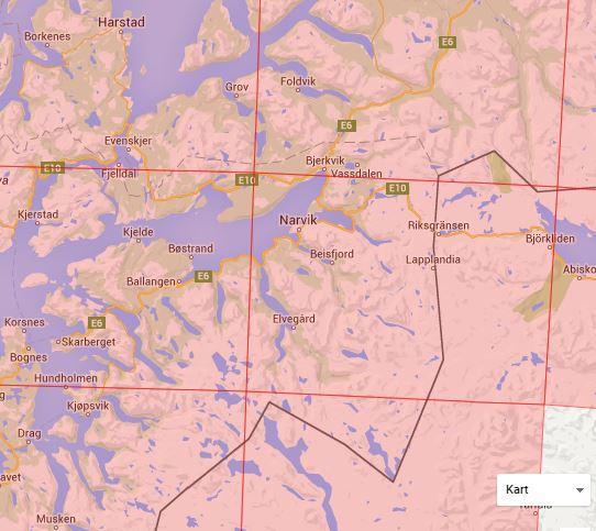 Nordeca kartoversikt Narvikområdet