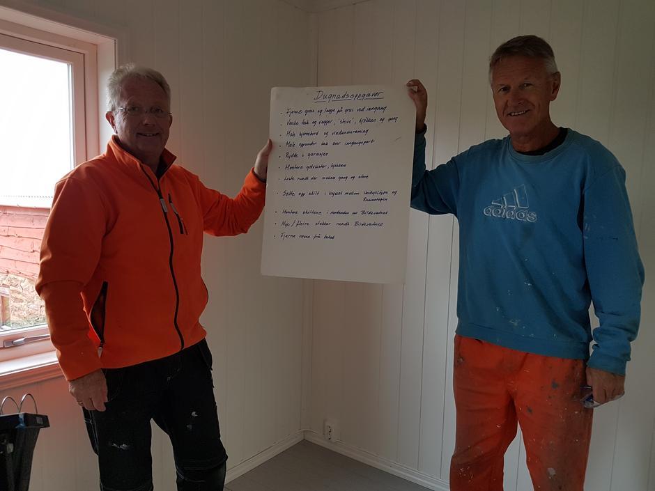 Leif og Håkon med liste over arbeidsoppgåver.