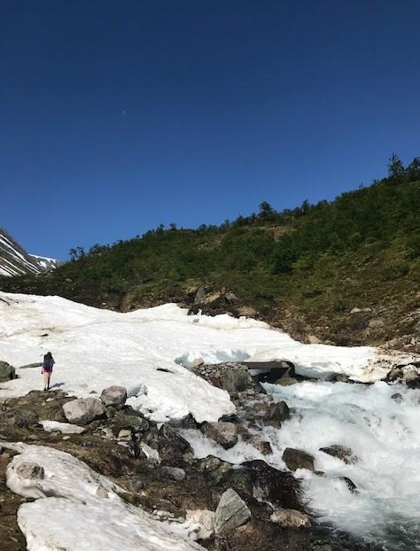 Lørdag 27.6: Sjinglabroen. På vei opp Skåla i Nordfjord. Mye vann og spennende snøbroer i fjellet.