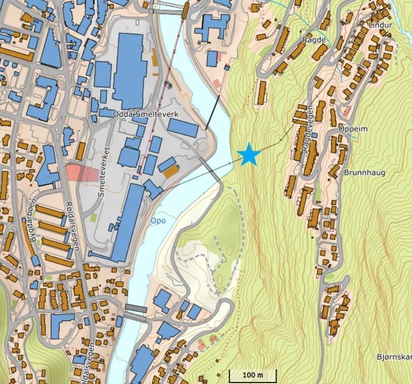 Kartutsnitt stolpe nr.8, Kleivane, sti mellom Ragde og Hjøllo.