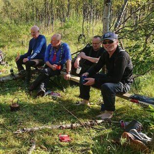 Klopping mot Stordalsstua, Frank Hansen, Tore Åsbakk, Vidar Jensen og Knut Charles Olsen