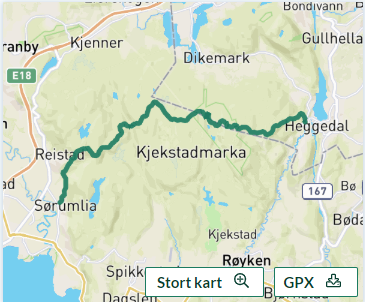 Kart Kjekstadmarka på tvers