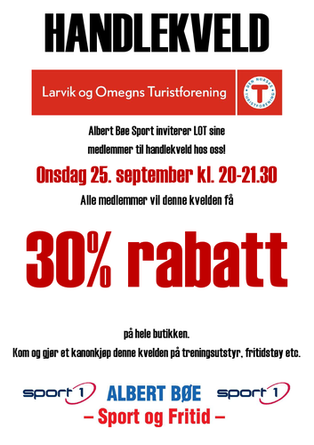 Handlekveld med 30% rabatt hos Albert Bøe Sport