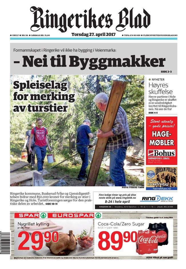 Faksimile fra Ringerikes Blad 27.04.2017