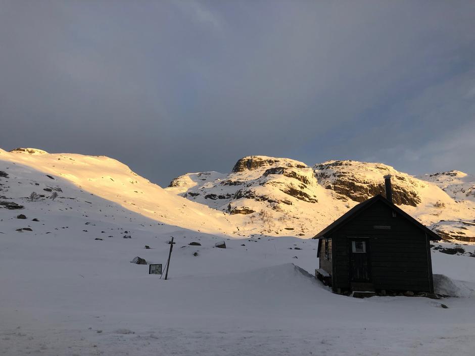 3 cm nysnø natt til 20 februar. Her fra Lortabu retning Sandvatn.