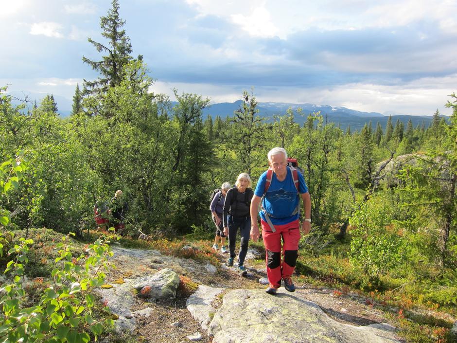 På veg mot Storberg, med Bitihødn og Jotunheimtindane bak i skyene
