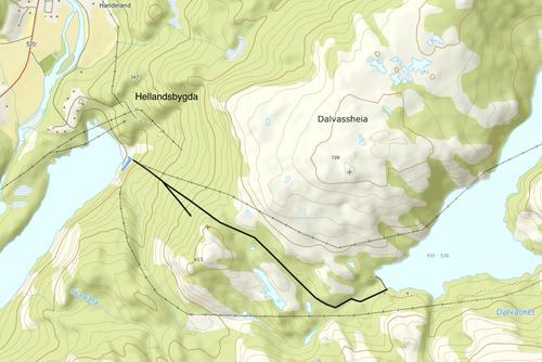 Kartutsnitt Hellandsbygda