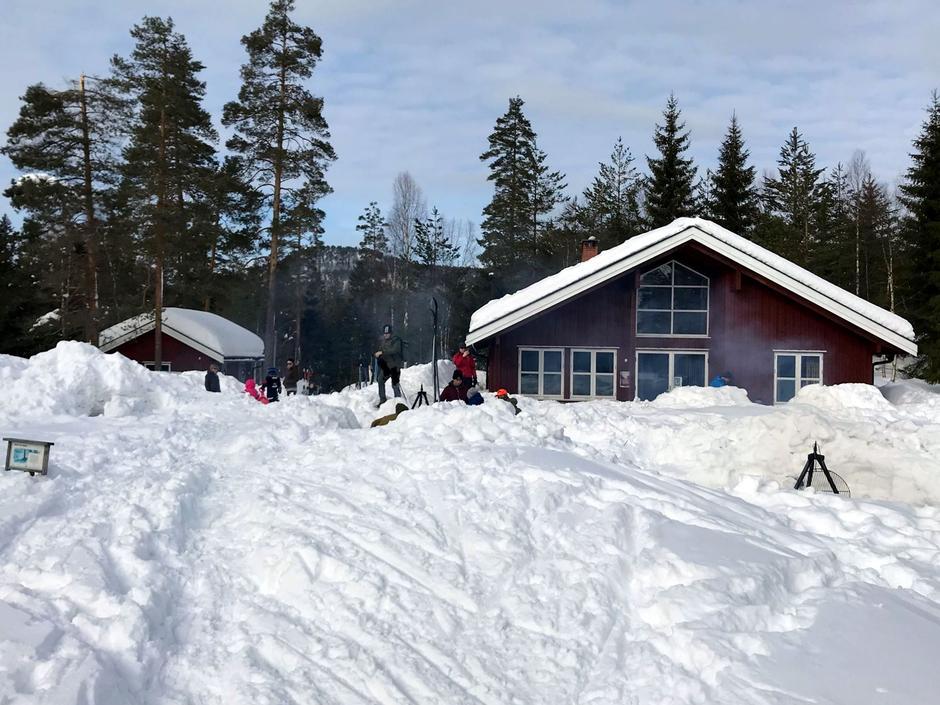 Mye snø på Heisetra
