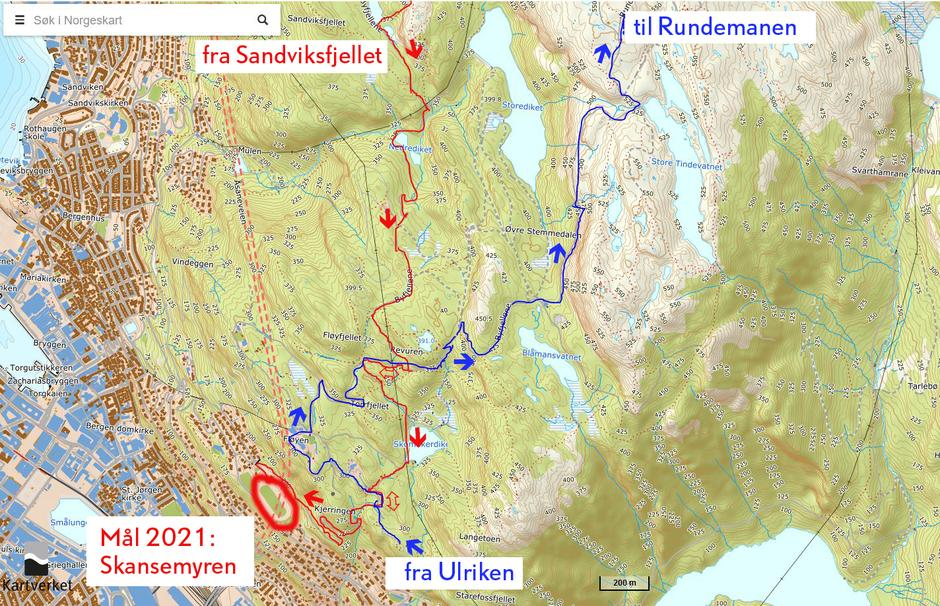Ny trasé fra Sandviksfjellet til mål på Skansemyren