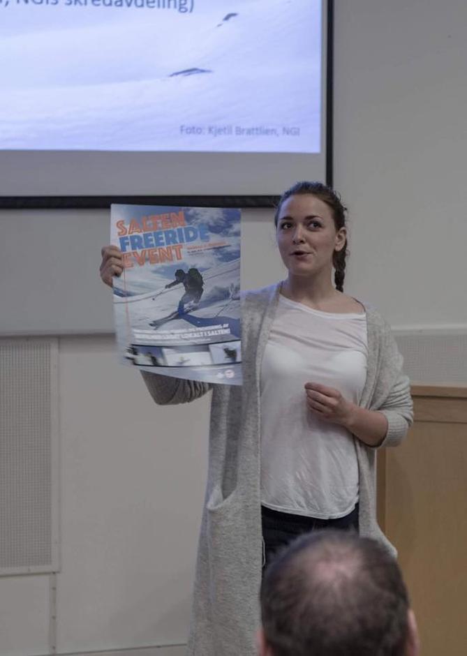 Styremedlem i BOBTOG, Aina Bye, forteller om Salten Freeride Event som går av stabelen i Litteratursalen i Stormen 12. desember.
