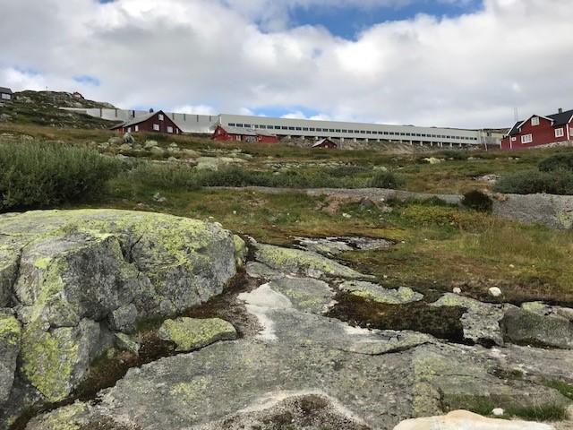 Etter å ha gått rundt, badet i Nedre Grøndalsvatnet og truffet på mange syklister på Rallarvegen (ca 3,5 km av ruten er på Rallarvegen) er målet nådd: Hallingskeid.