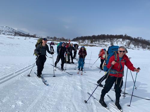 Fine forhold for fellesturen som startet fra Høvringen 04.04 på vei inn i Rondane.