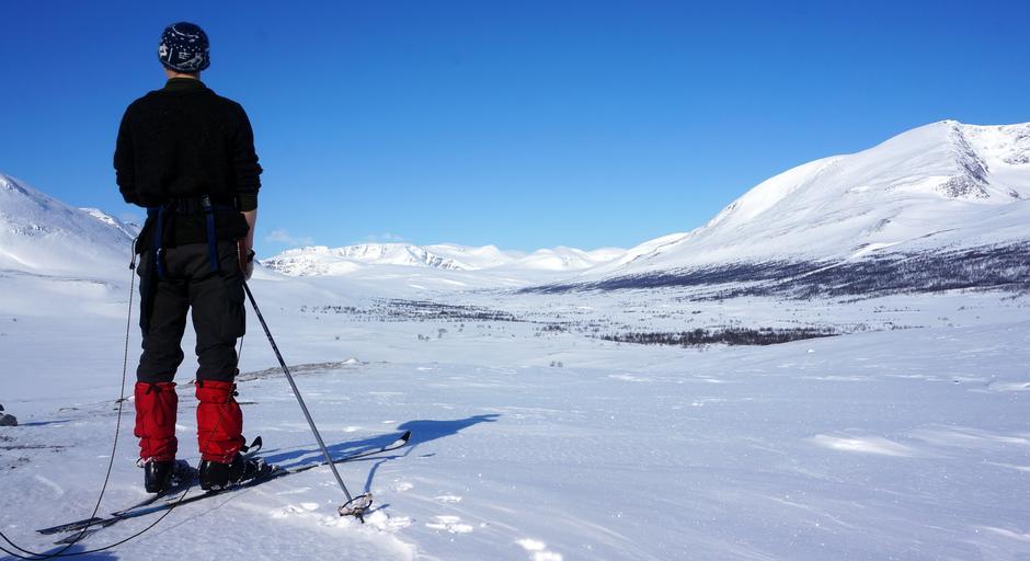 Bildet er tatt i Dividalen nasjonalpark i Indre Troms. Personen på bildet ser innover Anjavassdalen en solfylt aprildag.