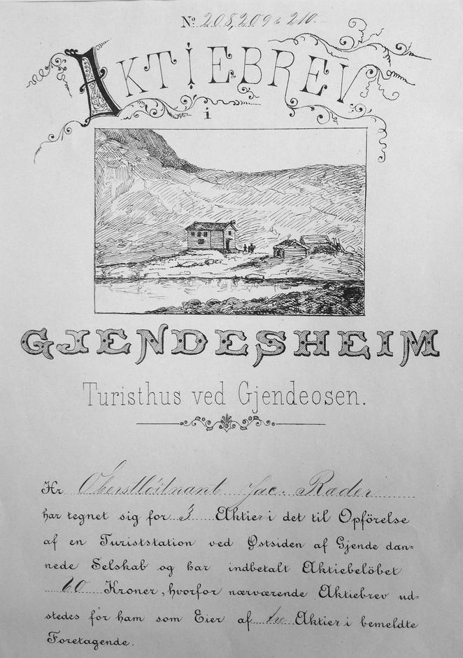 Aktiebrev utstedt til bidragsyter til oppførelsen av turiststationen på østsiden av Gjende.