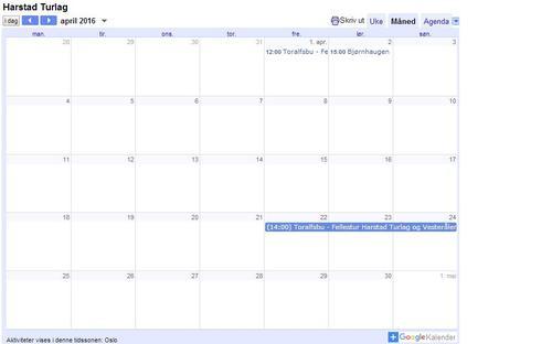 Innføring av hyttekalender