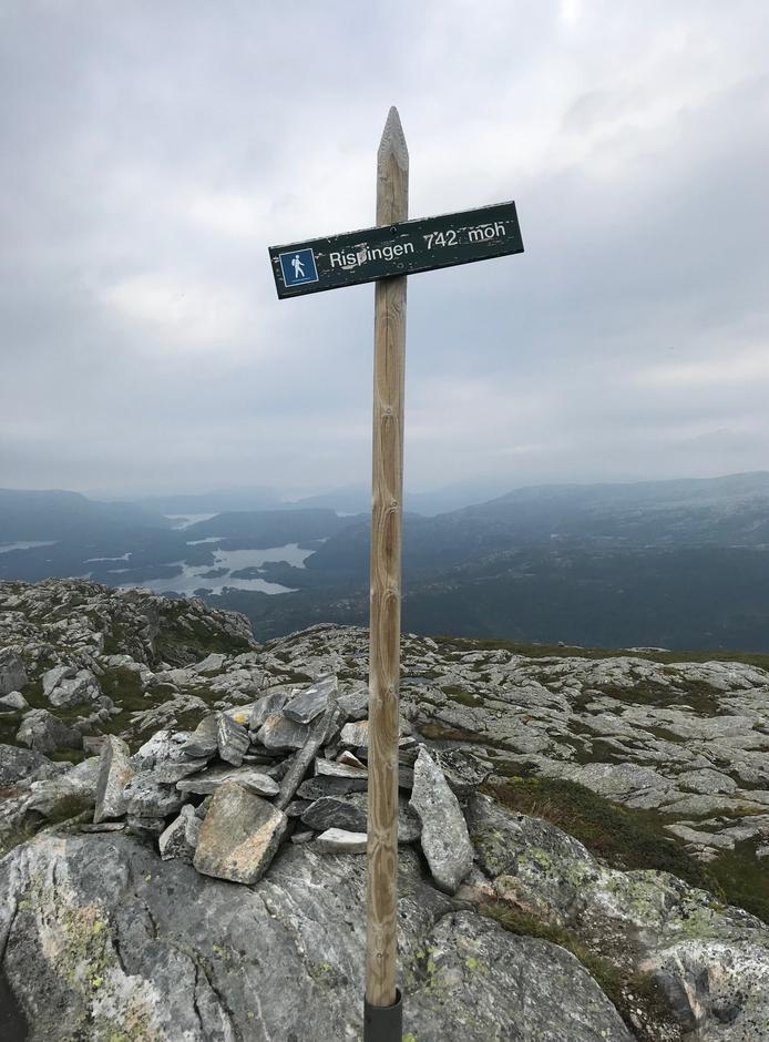 Torsdag 13.8: Toppstaur på Rispingen (742 moh).