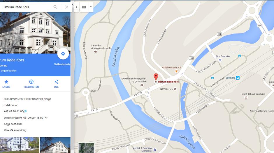 Her ligger Røde Kors huset, sentralt i Sandvika sentrum. Klikk på bildet for større kart.
