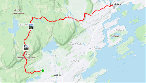 Rute fra Asker til Sandvika