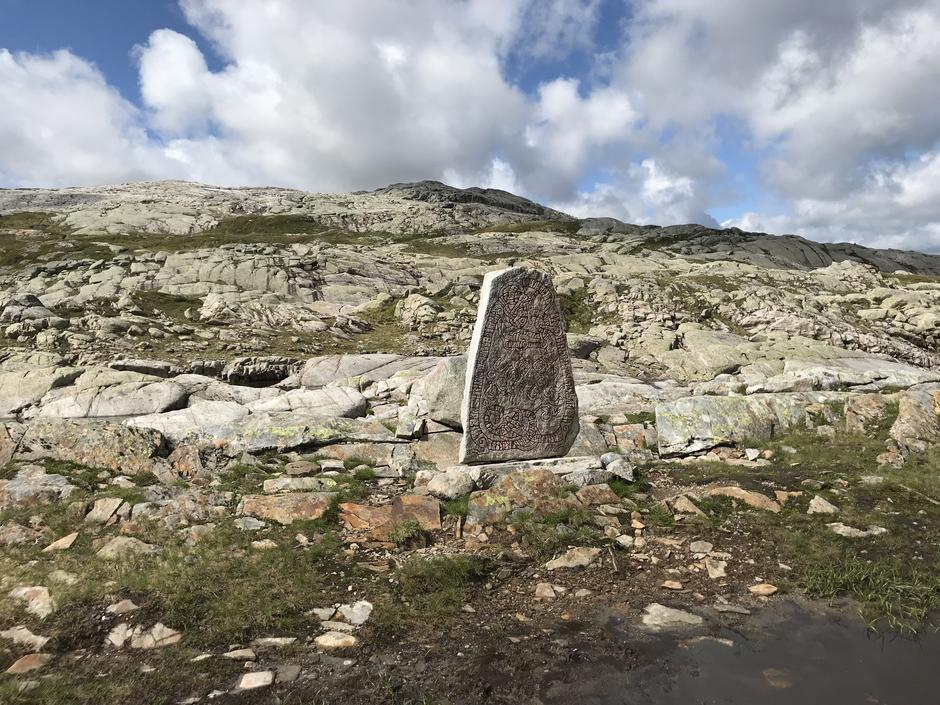 Naturlig pause på turens høyeste punkt Høgdi (900 moh). Runesteinen er satt opp til minne om slaget mellom Vossakongen og Samningakongen for ca 1000 år siden.