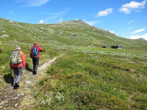 På veg mot Svarthamar, med tinden rett over. Skaget bak t.h.