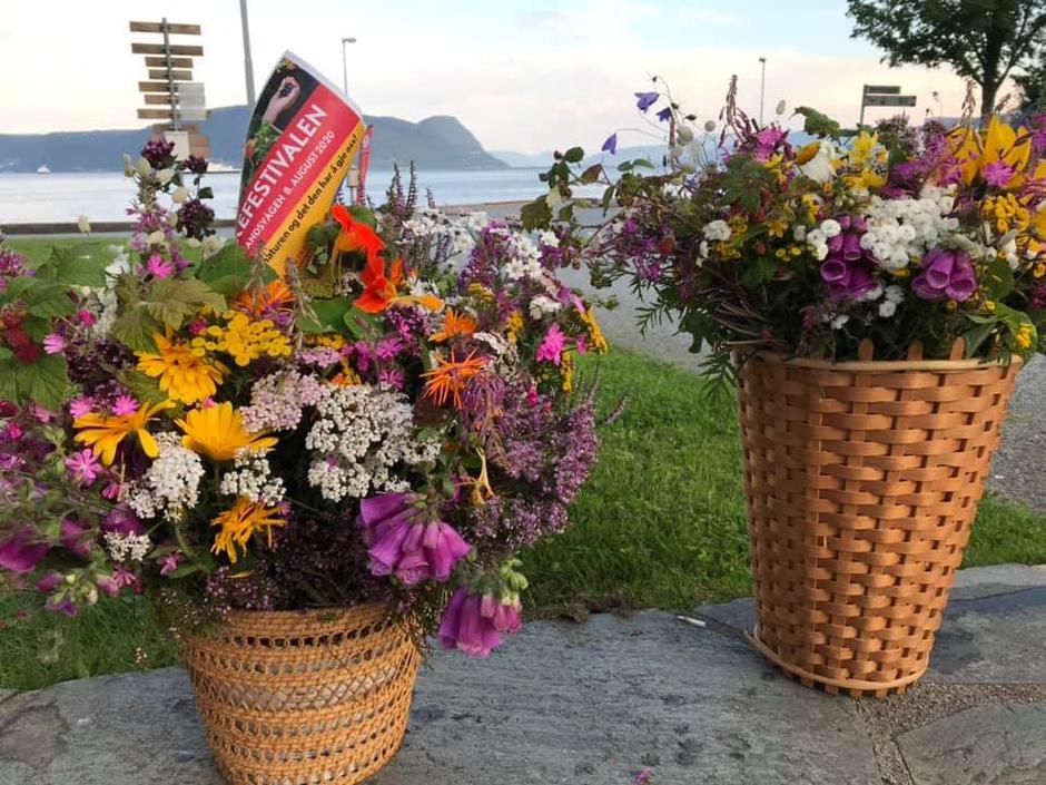 Fra fjorårets Sankefestival vil mange minnes to fantastisk vakre blomsterbuketter med ville blomster i alle farger som lyste opp til glede for alle. Disse ble laget av Svanhild og viser hennes sans for estetikk.