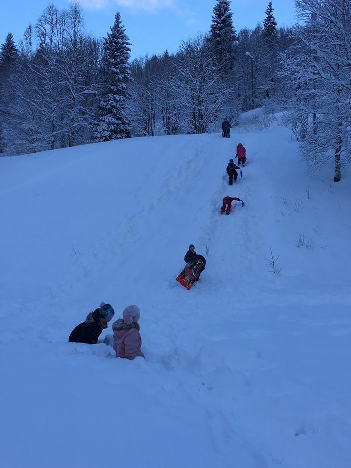 Mye lek og moro i snøen.