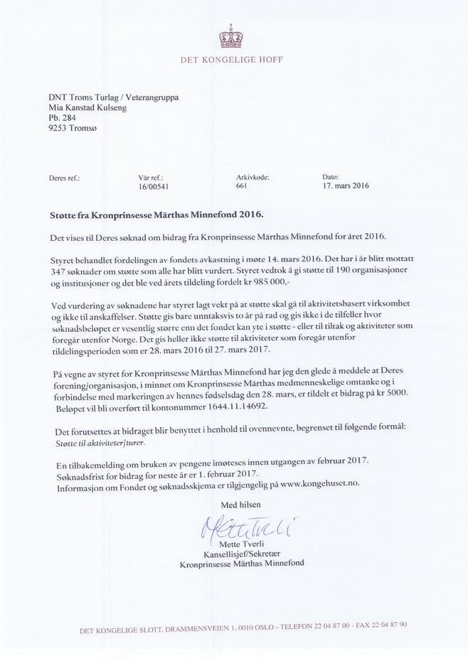 Tildelingsbrevet fra Kronprinsesse Märthas Minnefond til Veterangruppa i Troms Turlag.