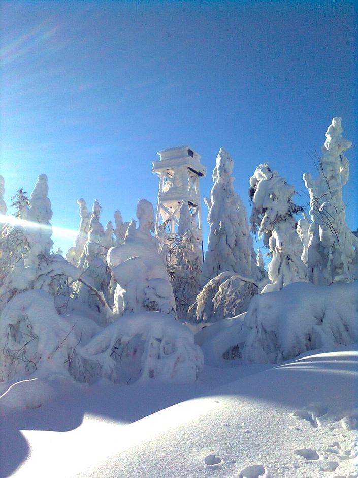 Utsiktstårnet på Mistberget i vinterprakt.