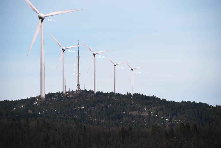 Vindturbiner i 1:1 skala sammen med Vealøstårnet i Skien