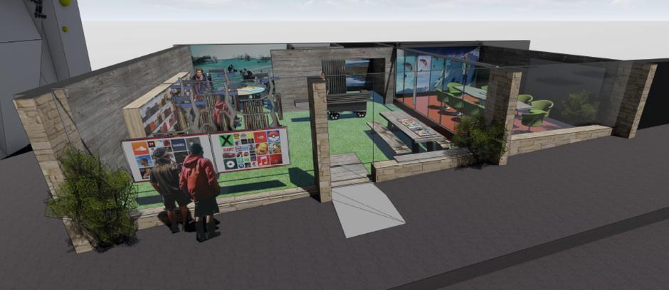 Skisse av mulig design for nye lokaler.