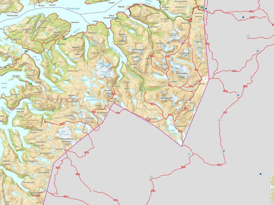 Oversiktskart NOT-løypenett med hytter