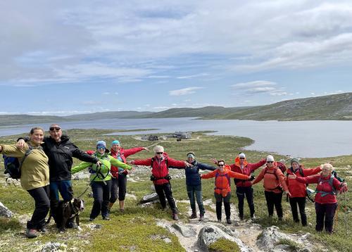 Midt i juli var det yoga og fotturer på Hardangervidda