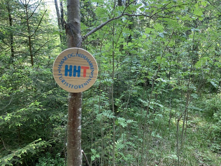 """Følg blåmerkene + de runde treklossene med HHT logo på (der de henger er """"postene"""")."""