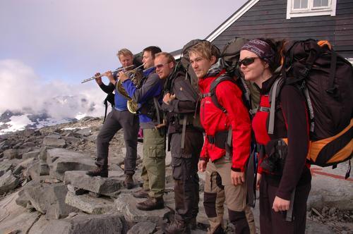 Fannaråken Blåsekvintett på Gjendebu 12. august