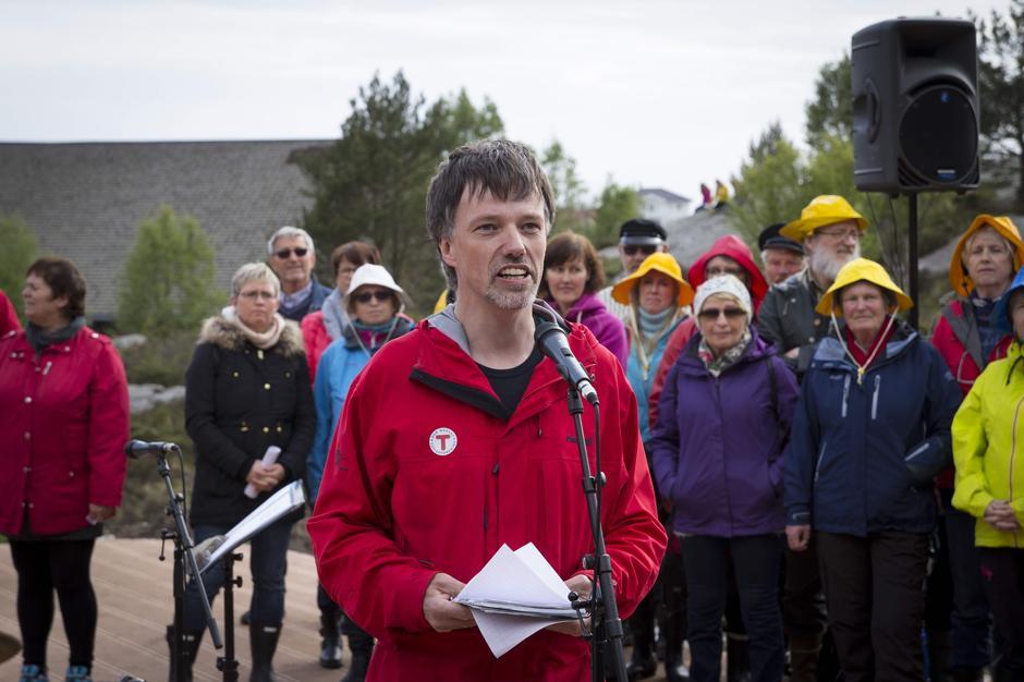 Leder i Sund Turlag, Fredrik Mortensen, appellerte til folks dugnadsinnsats i sin tale.