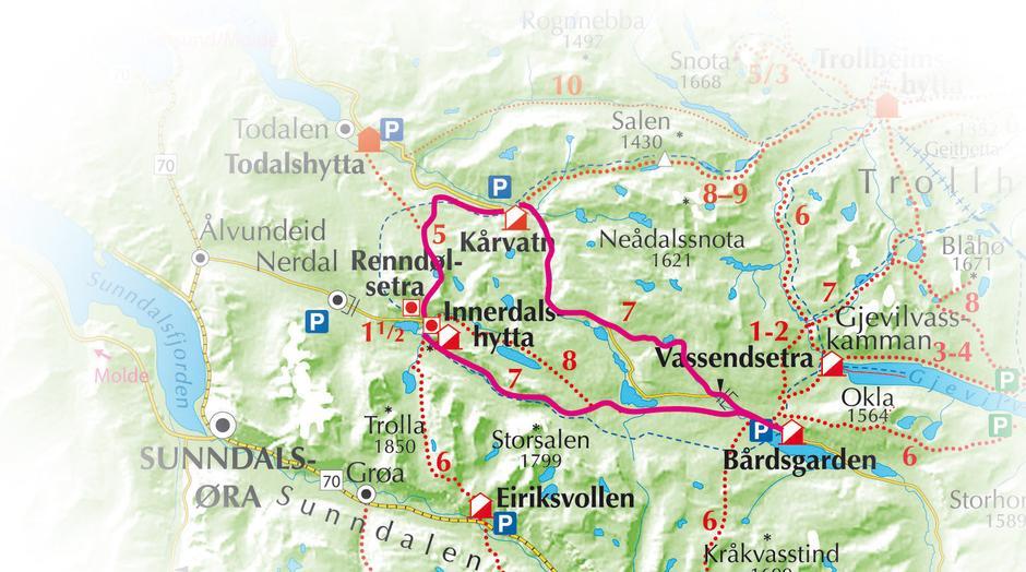 kart over trollheimen Vest Trollheimen med Innerdalen — Trondhjems Turistforening kart over trollheimen