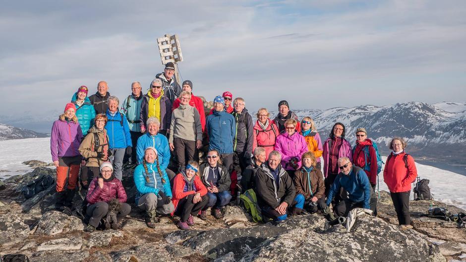 De fleste samlet på toppen før nedturen startet.