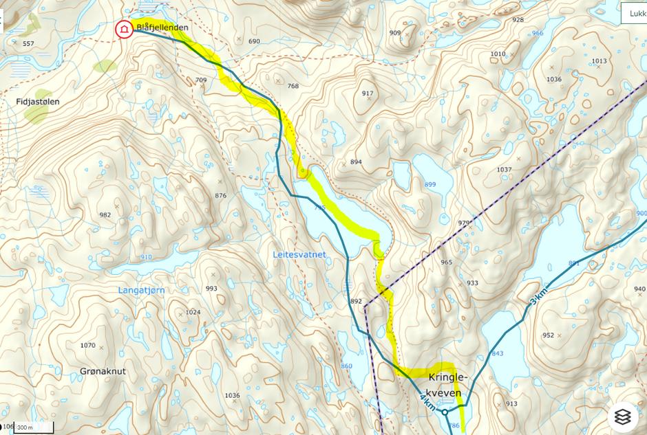 Vinteruten til Blåfjellenden. Blir kvistet til uke 9. Følg gul strek på kartet.